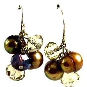 Designer Alex Carol Bronze/Amber Freshwater Pearls and Topaz Crystal