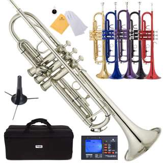 Mendini Bb Trumpet ~Gold Silver Black Blue Purple Red