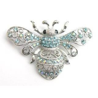 Aqua Light Blue Crystal Rhinestone Queen Bee Fly Insect Pin Brooch