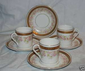 HERMANN OHME GERMAN PINK ROSE GOLD BAND DISHES 37 PIECE