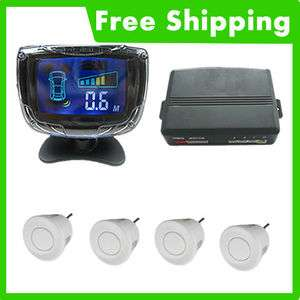 Car LCD Display 4 Parking Sensor Reverse Backup Radar(white)