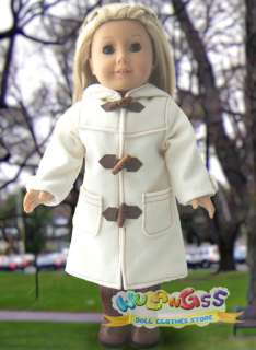 Handmade White Wool Duffel Coat fits 18 American Girl doll