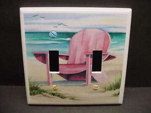 Beach Chair Pink #1 Light Switch Cover DBL V195