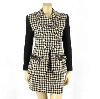 Vtg Gemma Kahng Houndstooth Skirt Jacket Blazer Suit 4