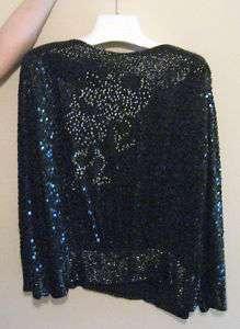 WOMENS BLACK SEQUIN SHIRT AND SKIRT DRESS LARGE