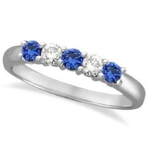 Five Stone Blue Sapphire and Diamond Ring 14k White Gold