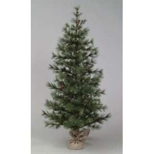 Pine Artificial Christmas Tree In Burlap Bag   Unlit