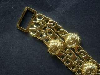 GIANNI VERSACE MEDUSA HEAD BLING GOLD PLATE VINTAGE BRACELET FROM 1996