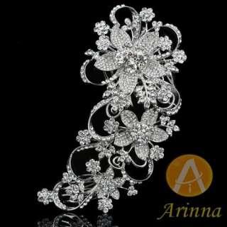 Flowers Swarovski Crystals Fashion Hair Pin Combs Clip White Gold GP