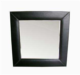 NEW Black Leather Framed Square Mirror 26 3/4
