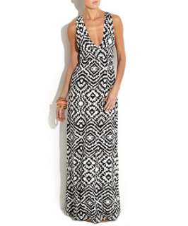 Black Pattern (Black) Tall Exclusive Black and White Maxi Dress