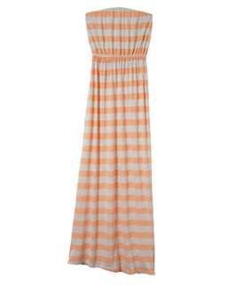 Orange/Yellow Pattern (Orange) Teens Orange Stripe Jersey Maxi Dress