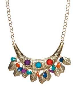 null (Multi Col) Leaf Tassel Collar  250230799  New Look