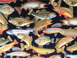 New RJR Freshwater Fish Salmon Bass Speckled Trout Crappie Fabric BTY