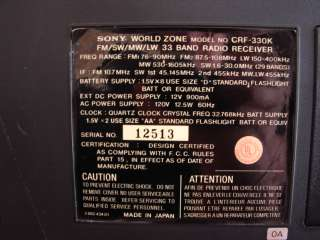 SONY CRF 330K 33 BAND SHORTWAVE RADIO RECEIVER NICE