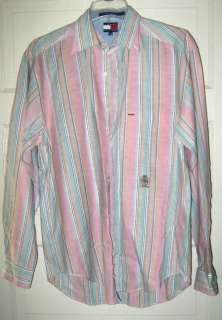 Tommy Hilfiger cotton pastel striped oxford shirt M NWOT long sleeve
