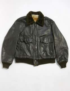Vintage 80s WILLIAM BARRY Leather FAUX FUR Lined G1 STYLE Bomber