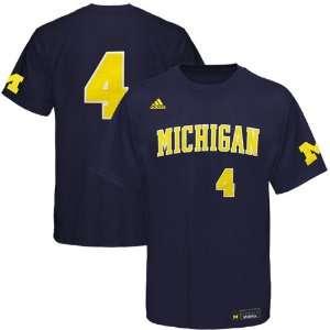 adidas Michigan Wolverines #4 Navy Blue Baseball Player T