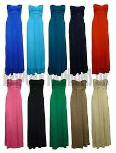 NEW WOMENS STRAPLESS TIE KNOT MAXI DRESS JERSEY DRESS