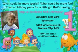 Guppies Birthday Party Invitations Candy Bar and Water Bottle Wrappers