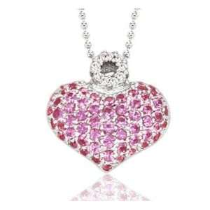 14k White Gold Pink Sapphire Pave Diamond Heart Necklace Jewelry