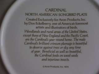 CARDINAL NORTH AMERICAN SONGBIRD PLATE AVON MIB 1974