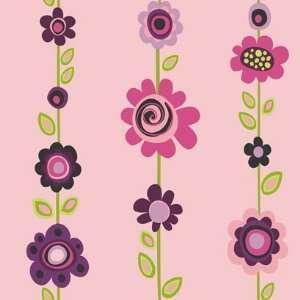 Floral Stripe Pink Wallpaper in Girl Power II: Home