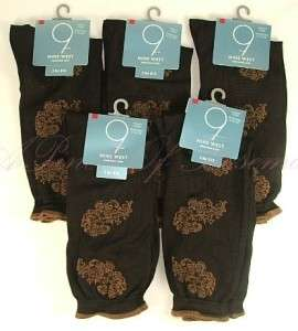 Pairs Nine 9 West Casual Dress Socks Fit 6 10.5 Brown