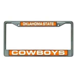 Oklahoma State Cowboys Laser Cut Chrome License Plate