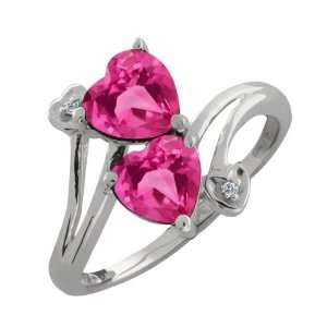 Ct Genuine Heart Shape Pink Mystic Topaz Gemstone 18k White Gold Ring