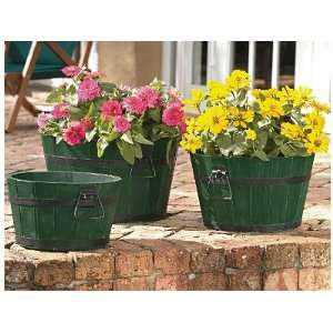 Mothers Day Gift Green Finish Barrel Planters   Set of 3