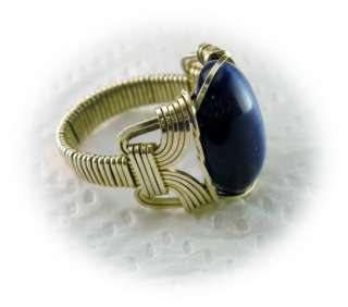 R435 Navy Blue Cats Eye 14k Gold gf Ring Mens Ladies
