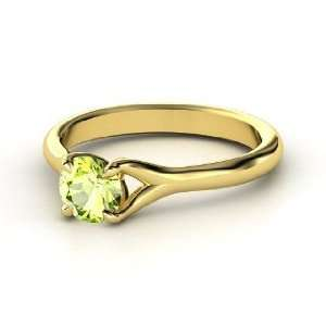 Cynthia Ring, Round Peridot 14K Yellow Gold Ring Jewelry