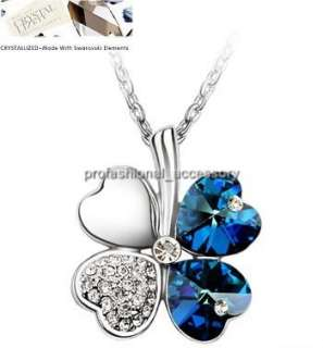 Swarovski Crystal Charm Heart Four Leaf Flower Necklace