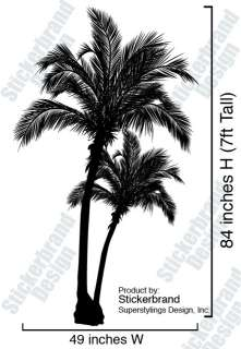 Vinyl Wall Decal Sticker Beach Palm Trees 7ft Tall BIG