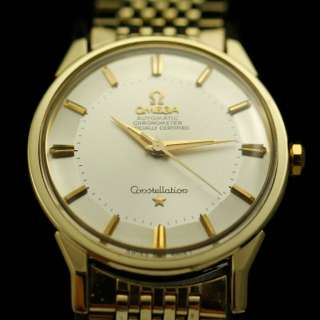 VINTAGE OMEGA CONSTELLATION 14k GOLD TOP SS CHRONOMETER AUTO MEN'S