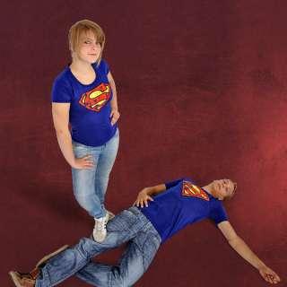 Damen Marken Girlie Shirt Superman Logo, Retro Print