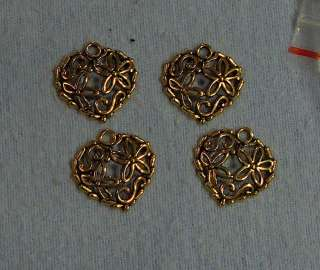 lot of 4 gold open heart charms