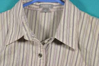 Ann Taylor Size PM 8P 10P Purple Creme Striped Cotton Shirt Top Blouse