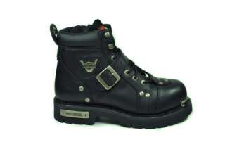 DAVIDSON Break Buckle 6 STEEL TOE Black Leather Men Size Boots 95226