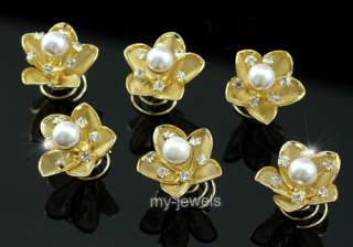 pcs X Gold Pla Pearl Crystal Flower Hair Twists P1135