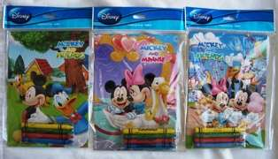 Total of 12 Disney Mickey Mouse & Friends Coloring Book with Crayon