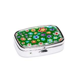 Green Flower Print 2 Day Pill Box: Health & Personal Care