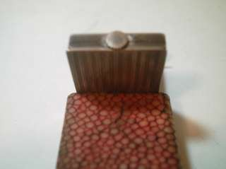 RARE! ANTIQUE FRENCH ART DECO SWISS STERLING SHAGREEN BOX WATCH c1920
