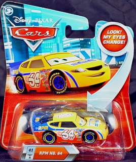 Pixar CARS Diecast Toy Car   RPM #64 Yellow Race Car Lenticular Eyes
