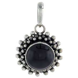 Sterling Silver Bali Style Pendant, w/ 10mm Round Cabochon