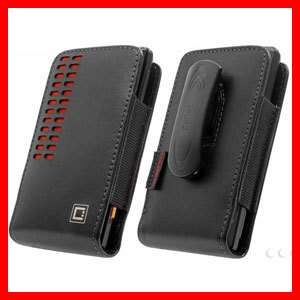 Iphone 4S New Bergamo Vertical Genuine Leather Case Holster Black Red
