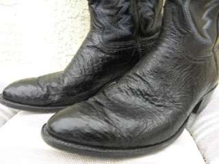 GORGEOUS BLACK OSTRICH WESTERN COWBOY BOOTS SZ 11 1/2 D