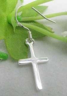925 sterling silver Cross dangle earrings 18mm SA513