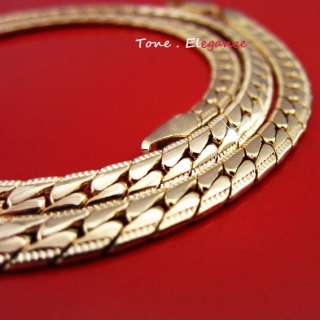 yellow gold GF flat snake chain ladies mens solid Necklace 33g